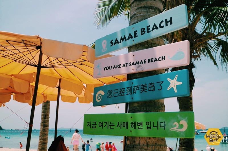 サマエ・ビーチにある多言語のサインがある看板